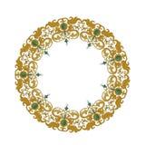 Cirkelornament met traditionele middeleeuwse elementen op geïsoleerd wit Royalty-vrije Stock Afbeelding