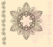 Cirkelornament met wervelingen in roze en bruin op vanille backg Royalty-vrije Stock Fotografie