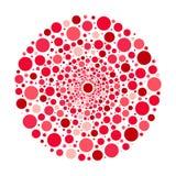 Cirkelornament, rode en roze bellen vectorpatroon Royalty-vrije Stock Foto's