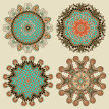 Cirkelornament, sier ronde kantinzameling Stock Foto