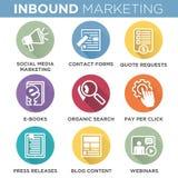 Cirkeloverzicht Binnenkomende Marketing Vectorpictogrammen stock illustratie