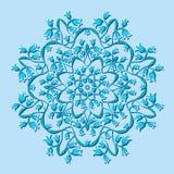 Cirkelpatroon met blauwe bloemen stock illustratie
