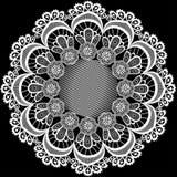 Cirkelpatroon met bloemen van kant Stock Afbeelding