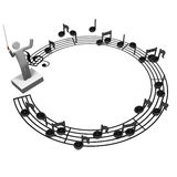 Cirkelpersonalbeteckningssystem och musikalledare Royaltyfri Fotografi