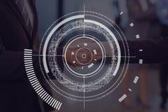 Cirkelpictogram tegen vergaderingsachtergrond Stock Afbeelding