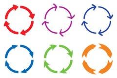 Cirkelpilar Kulört tecken Arkivbild