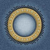 Cirkelplatta på jeans Arkivbild