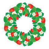 Cirkelprydnaden med jordgubbar i hjärta formar med blommor Royaltyfria Bilder