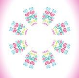 Cirkelram som göras av vattenfärghjärtor Royaltyfria Foton