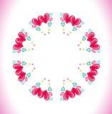 Cirkelram som göras av vattenfärgrosa färghjärtor Royaltyfria Bilder
