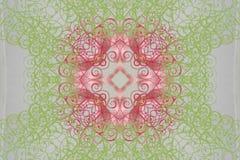 Cirkelroze met groen ornament (mandala, caleidoscoop) Stock Afbeeldingen