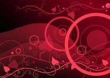 Cirkels en bloemen op rood stock illustratie