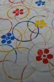Cirkels en kleurrijke bloemen Stock Afbeelding