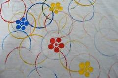 Cirkels en kleurrijke bloemen Stock Afbeeldingen
