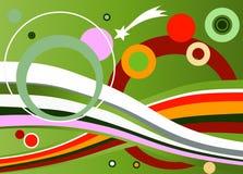 Cirkels en regenboogachtergrond in roze, groen en wit Stock Afbeeldingen