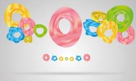 Cirkels en rondes op grijze achtergrond, abstracte ve Stock Afbeelding