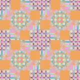 Cirkels en vierkantenpatroon oranje roze violet purper blauw Stock Foto