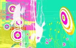 Cirkels en vlinders stock illustratie