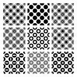 Cirkels in 9 naadloze zwart-wit vectorpatronen Royalty-vrije Stock Foto's