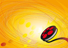 Cirkels, pijl en film op oranje achtergrond Royalty-vrije Stock Foto