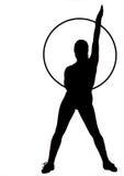 cirkelsilhouettekvinna royaltyfri foto