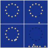 Cirkelstjärnor för europeisk union på bakgrund för blå flagga Royaltyfri Bild