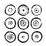 Cirkelsymboler Abstrakt inre affisch som ska skrivas ut Utdragen smutsig Grungestil för hand royaltyfri illustrationer