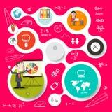 Cirkelvektor Infographics och rengöringsdukdesign Arkivbild
