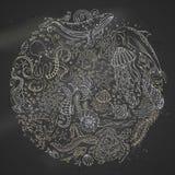 Cirkelvektoruppsättning av kritasealifedjur på svart tavlabakgrund Royaltyfria Foton