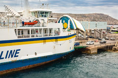 Cirkewwa, Malta - May 06, 2016: Ferries between the islands of M. Alta and Gozo transports people and cars shuttle system Royalty Free Stock Images