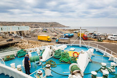 Cirkewwa, Malta - May 06, 2016: Ferries between the islands of M. Alta and Gozo transports people and cars shuttle system Stock Photos