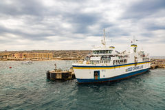 Cirkewwa, Malta - May 06, 2016: Ferries between the islands of M. Alta and Gozo transports people and cars shuttle system Royalty Free Stock Photos