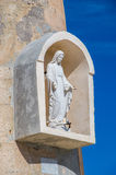 Cirkewwa, Malta - May 8, 2017: Virgin Mary at old Cirkewwa Lighthouse. Burial ground of 38 defenders of the Polish post office in Gdansk who for 14 hours on 1 royalty free stock images