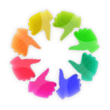 Cirkla av färgrikt räcker upp - tum royaltyfri illustrationer