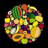 Cirkla av frukter Arkivbild