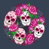 Cirkla begreppet med sockerskalle- och rosa färgrosor vektor illustrationer