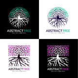 Cirkla den abstrakta trädlogoen och kvadrera den abstrakta designen för konst för trädlogovektorn Royaltyfri Bild