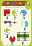 cirkla den korrekta br?kdelen, matematik, matematikarbetssedeln f?r ungar Br?kdelar till?gg, tryckbara br?kdelarbetssedlar f?r un vektor illustrationer