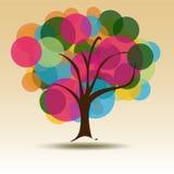 Cirkla den mångfärgade treen för affärskort   Royaltyfri Bild