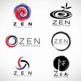 Cirkla färgpulver- och bambubladet för Zenaffär och fastställd design för brunnsortlogovektor Arkivfoto
