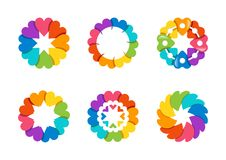 Cirkla hjärtalogoen, sund förälskelse för arroundregnbågen, global blom- design för vektor för hjärtasymbolsymbol Fotografering för Bildbyråer