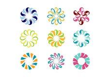 Cirkla logoen, den blom- mallen, uppsättning av designen för vektorn för modellen för blomman för rundaabstrakt begreppoändlighet Royaltyfria Bilder