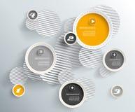 cirklar 3d med skuggor och ställe för din egen text. Arkivbilder