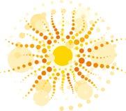 Sun med strålââfrom cirklar Arkivbild