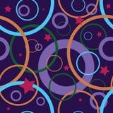 Cirklar den sömlösa modellen för vektorn mörka färger för stjärnor Arkivbilder