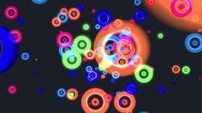 Cirklar färgrikt glöd för abstrakt flyg partikelanimering