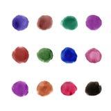 Cirklar för färg för palett 12 för vattenfärg mörka Arkivfoton