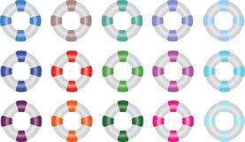 Cirklar för livpreserver i åtskilliga färger Fotografering för Bildbyråer