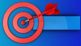 cirklar för mål 3d med den röda pilen Fotografering för Bildbyråer