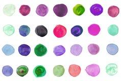 cirklar hand målad vattenfärg Arkivbild